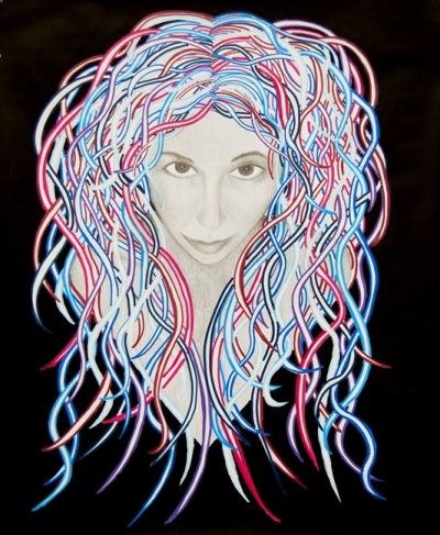 hair art, funky hair art, modern contemporary art, space goddess art