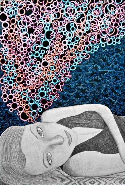Synesthesia, modern contemporary san francisco art, music art, sexy pretty girl art, beautiful girl art, bubbly colorful abstract art, urban modern art, Meghan Oona Clifford