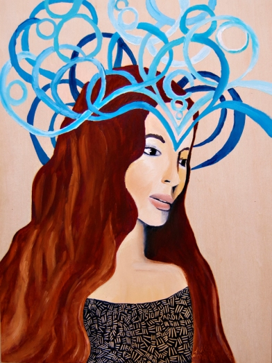 goddess art, modern goddess art, beautiful modern contemporary women painting, Meghan Oona Clifford