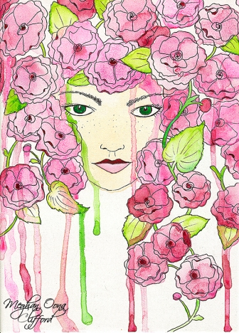 flower girl art, modern illustration flowers girl, modern contemporary san francisco art