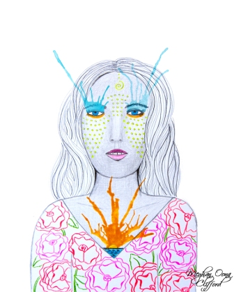 conrad roset inspired, meghan oona art, meghan oona clifford, watercolor fashion illustration heart on fire