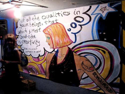 creativity san francisco, undeground art show san francisco, meghan oona clifford art, art mural san francisco, party art installation san francisco