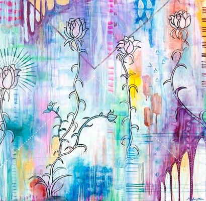 abstract modern urban art, flora bowley, kelly are roberts, pastel flowers abstract urban art