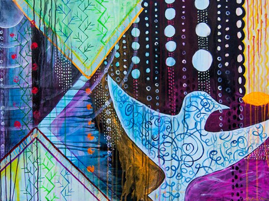 modern urban abstract design, abstract san francisco art, west coast abstract art, meghan oona clifford, urban abstract bird art