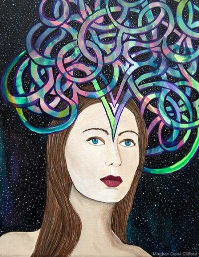 erik jones, meghan oona clifford, fashion art, modern contemporary mystical artwork, illuminated portraiture