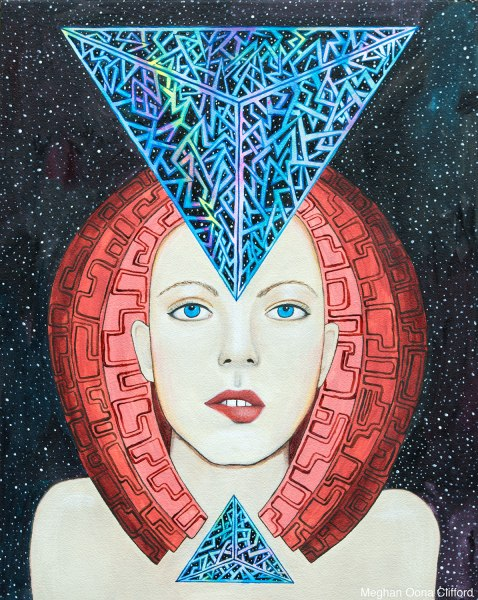erik jones inspired art, alex grey inspired, android jones inspired, meghan oona clifford, fashion art, modern painting, visionary art