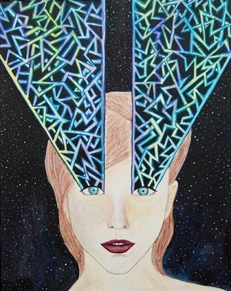 erik jones, meghan oona clifford, fashion art, fashion painting, geometric design modern art