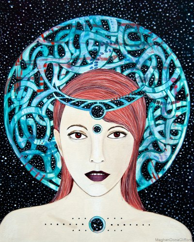 celtic goddess art, modern gaelic goddess art, meghan oona clifford, tara mcpherson, modern gaelic art, modern celtic art, geometric fashion illustration painting