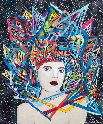 meghan oona clifford, fashionista modern art, san francisco art, psychedelic warrior art, erik jones art, fashion illustration painting, colorful abstract fashion art