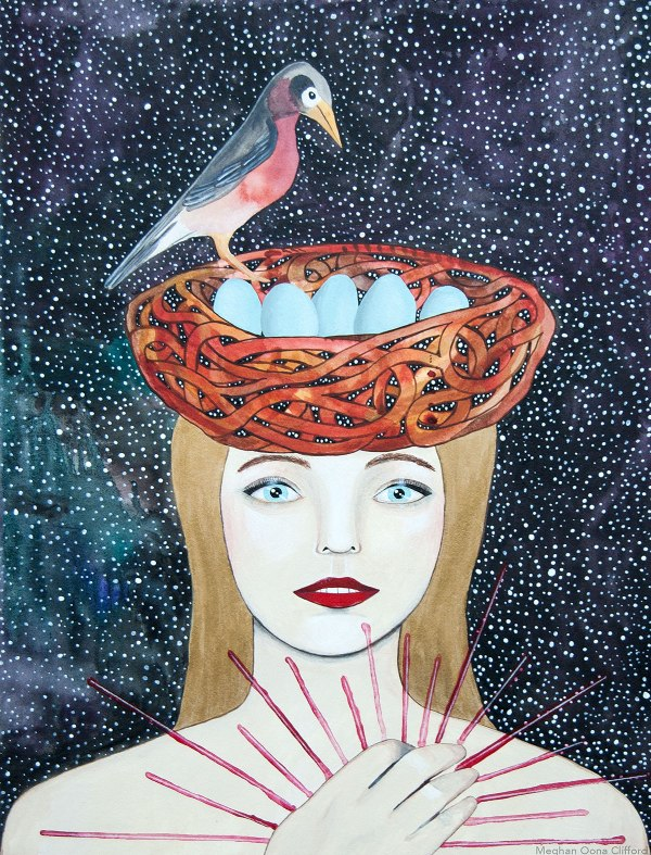 meghan oona clifford, meghan oona art, meghan clifford, kelly rae roberts, bird girl nest art, geometric colorful cosmic art, interior decor psychonaut art