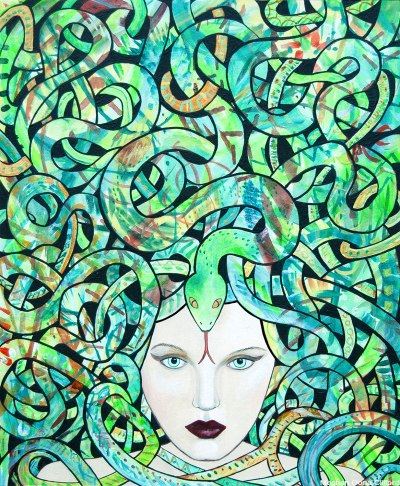 erik jones art, meghan oona clifford, snake goddess art, kundalini modern art, modern medusa art, eve and the snake modern art, snake woman art, kundalini snake art, woven geometric abstract art, new contemporary art, fashion illustration painting