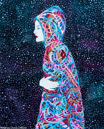 meghan oona clifford, star born, geometric modern art vibrant, vibrant abstract figurative fashion art, erik jones art, audrey kawasaki, tara mcpherson, fashion runway painting, emilio pucci fashion art