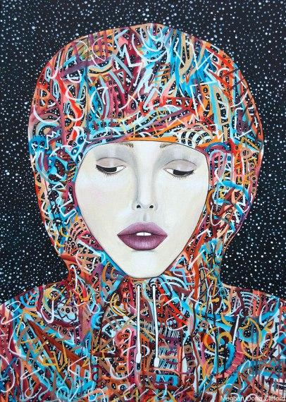 meghan oona clifford, cosmic modern art, geometric contemporary colorful abstract art, fashionista modern art, hoodie modern art, tara mcpherson, erik jones art