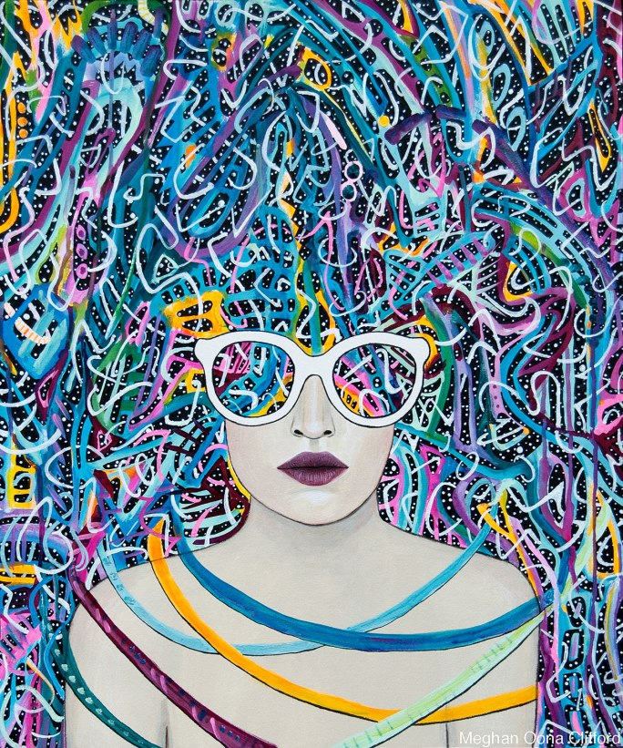 modern geometric fashion illustration, modern illuminated portraiture, meghan oona clifford, geometric abstract modern art, modern celtic knot work, modern urban art interior decor, psychedelic visionary art, modern fashionista art, boho fashion art