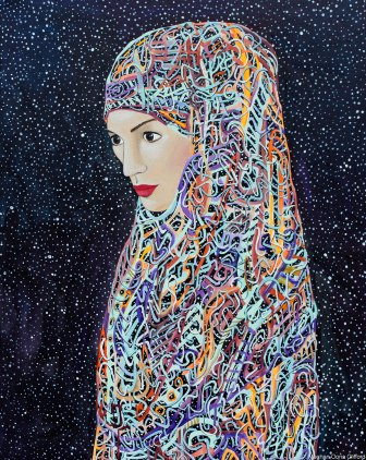 meghan oona clifford art, modern muslim fashion art, modern muslim style art, modern hijab painting, muslim american modern fashion art, erik jones inspired art, alex grey inspired art, android jones inspired art