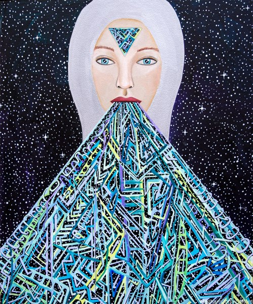 meghan oona clifford art, tara mcpherson inspired, finding your voice art, throat chakra art, geometric painting, modern celtic knot work