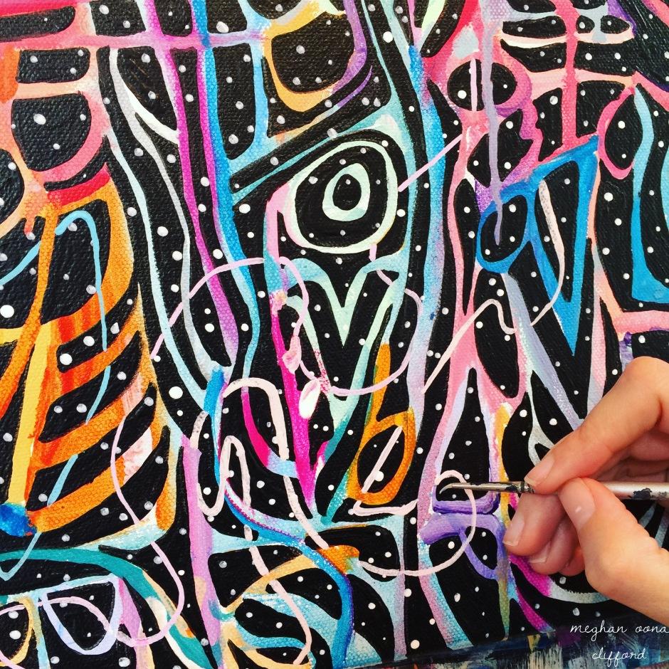 meghan oona clifford art, meghan oona art, world wide web painting, spiritual world wide web, spiritual internet, alex grey inspired, android jones inspired, amanda sage inspired, visionary artist painting, modern celtic knot work