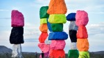 Ugo Rondinone , neon desert installation, Seven Magic Mountains