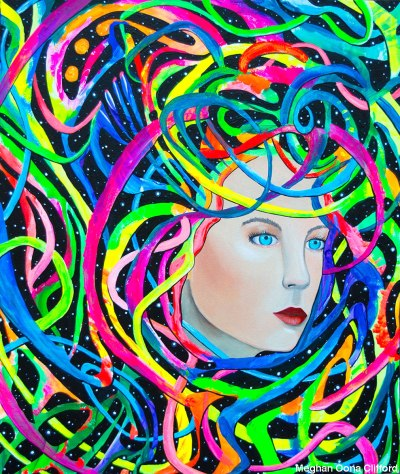 alex grey inspired, android jones inspired, dmt art, juxtapoz visionary art, lsd art, meghan oona clifford art, modern celtic knot work, modern celtic knotting, new contemporary art, pop surrealism art, spiritual world wide web, thinkspace gallery art, urnes style art, visionary artist painting, erik jones inspired