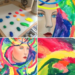 art studio, neon color palette, meghan oona art, meghan oona clifford