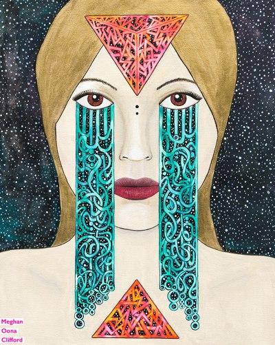 meghan oona clifford art, meghan oona clifford, modern celtic knotting, new contemporary art, pop surrealism, pop art crying, celtic knot tears, yuan yin modern art, geometric celtic knot work, tara mcpherson inspired art