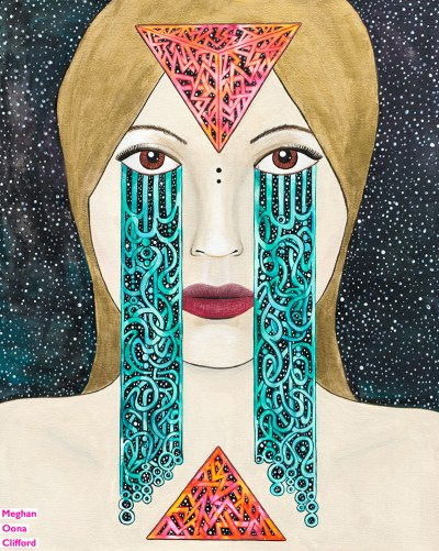 meghan oona clifford art, meghan oona clifford, modern celtic knotting, new contemporary art, pop surrealism, pop art crying, celtic knot tears, yuan yin modern art, geometric celtic knot work, tara mcpherson inspired art