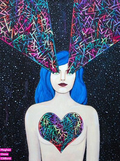 meghan oona clifford art, meghan clifford art, tara mcpherson inspired art, modern celtic knot work painting, modern celtic knotting, love goddess popart