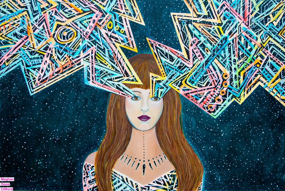 alex grey inspired, android jones inspired, awakening feminist art, dmt art, juxtapoz visionary art, lsd art, meghan oona clifford art, modern celtic knot work, modern celtic knotting, new contemporary art, pop surrealism art, spiritual feminine new contemporary art, tara mcpherson inspired, thinkspace gallery art, visionary artist painting