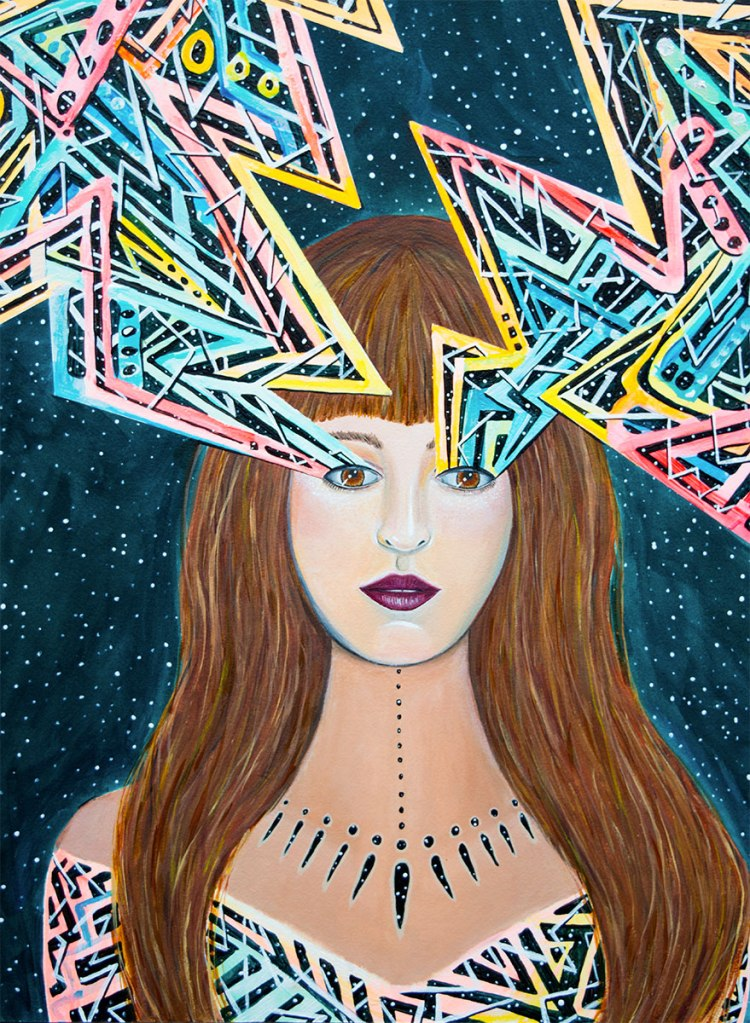 alex grey inspired, android jones inspired, awakening feminist art, dmt art, erik jones inspired, juxtapoz visionary art, lsd art, meghan oona clifford art, modern celtic knot work, modern celtic knotting, new contemporary art, pop surrealism art, spiritual feminine new contemporary art, tara mcpherson inspired, thinkspace gallery art, visionary artist painting