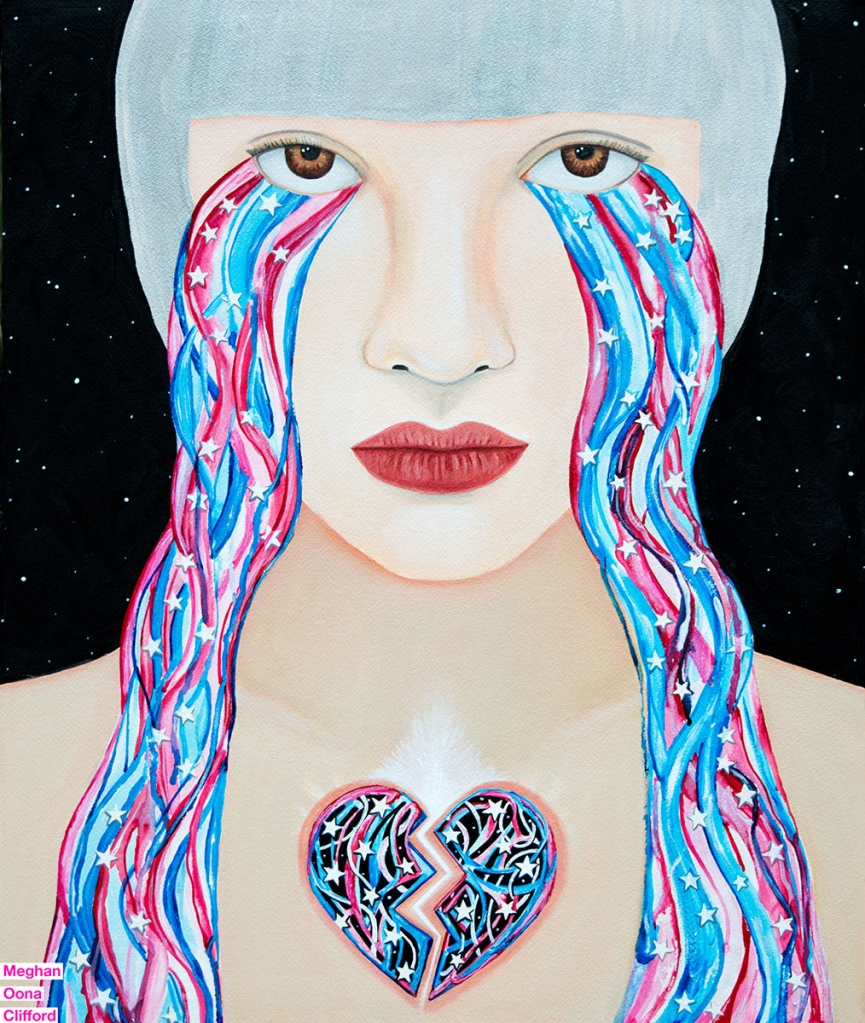 america 2016 painting, american election 2016 art, american tears art, art against misogyny, art against trump, art for hillary, art in the next 4 years, election 2016 art, erik jones art, feminist artwork, fight against trump, painting of america crying, tara mcpherson art, why go vegan, why i should go vegan