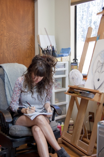 artist in studio, art studio, meghan oona clifford art, introvert artist